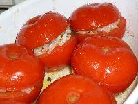 """Endprodukt: """"schnelle"""", gefüllte Tomaten"""