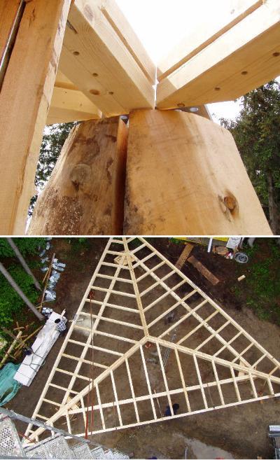Konstruktion des Dachs für den Wiler Holzturm