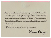 Personal Letter of Appreciation from Mr. Ronald W. Reagan