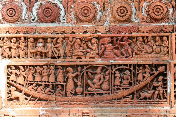 Terrakotta Darstellungen am Kantanagar Tempel