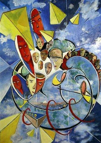 flying subjects  (acryl-leinwand) 140 x 100 cm