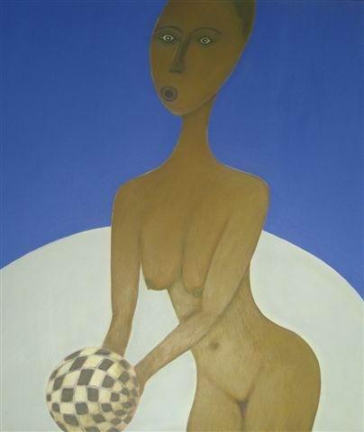 morena mit ball  (acryl-leinwand)  80 x 60 cm