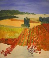 les vignes de lirac  (acryl - leinwand)  70 x 60 cm
